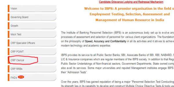 IBPS Clerk 2018 Apply Online Step 2